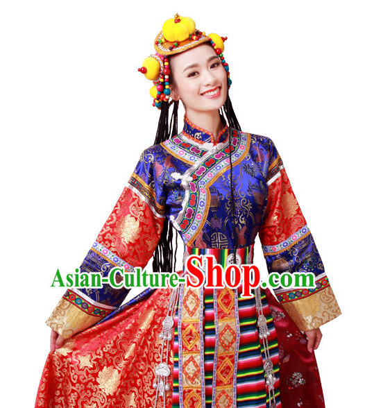 Chinese Tibetan Folk Dance Dress Clothing Dresses Costume Ethnic Dancing Cultural Dances Costumes for Women Girls