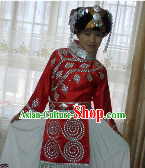 Chinese Folk Dance Dress Clothing Dresses Costume Ethnic Dancing Cultural Dances Costumes for Women Girls
