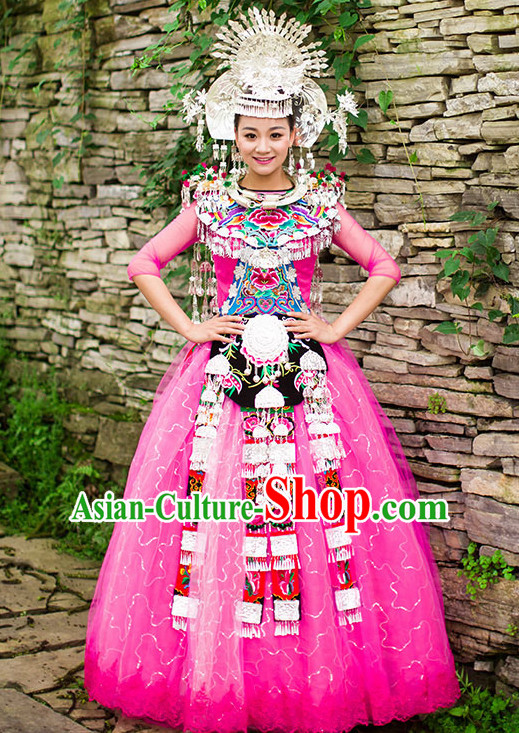 Chinese Hmong Girls Miao Nationality Ethnic Groups Wear Dresses Traditional Clothing for Women