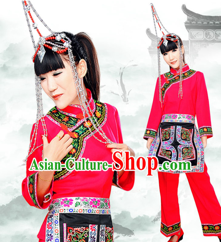 Chinese Minority Nationality Ethnic Groups Wear Dresses Traditional Clothing for Women