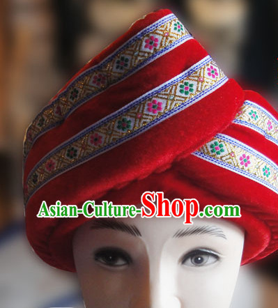Chinese Traditional Miao Minority Hmong Folk Ethnic Hat for Men