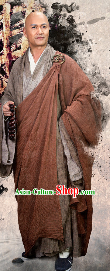 Chinese Ancient Monk Costumes Clothing Complete Set for Men