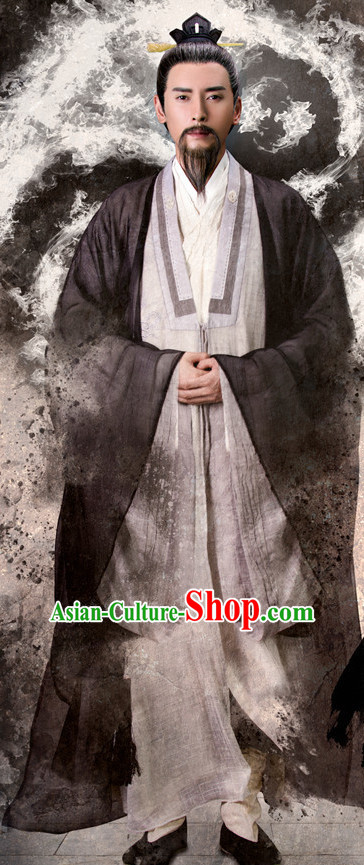 Chinese Ancient Taoist Costumes Clothing Complete Set for Men