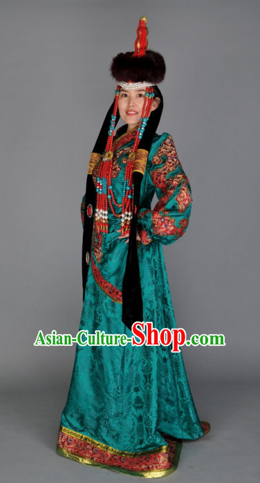 Traditional Chinese Mongolian Empress Garment Clothes Complete Set for Women