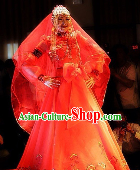 Traditional Chinese Mongolian Wedding Dress Complete Set for Women