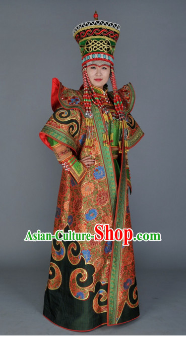 Traditional Ancient Chinese Mongolian Queen Clothes Complete Set for Women