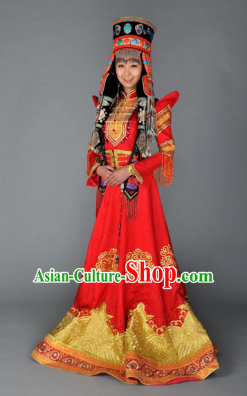 Traditional Ancient Chinese Mongolian Queen Wedding Dresses Complete Set for Women