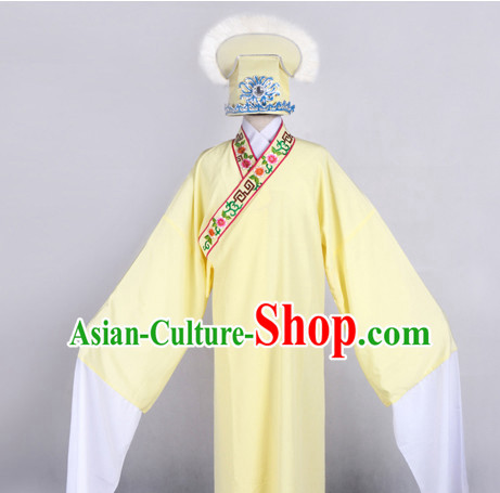 Chinese Opera Costumes Huangmei Opera Stage Performance Costume Chinese Traditional Costume Drama Costumes and Hat Complete Set for Men