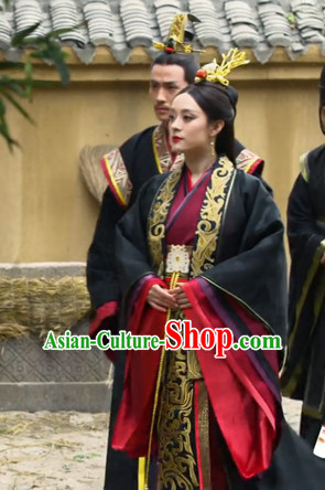 Traditional Chinese Ancient Empress Costumes and Hair Accessories Complete Set for Women Girls Kids Adults