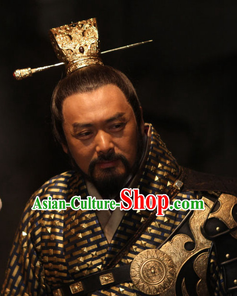 Chinese Traditional Ancient Black Wigs and Coronet for Men
