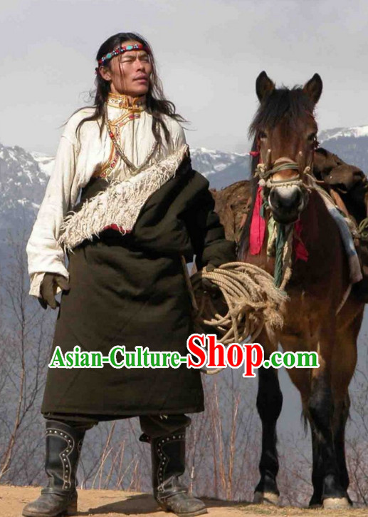 Tibetan Traditional Ethnic National Costumes Complete Set for Men