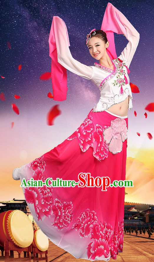 Chinese Water Sleeve Dance Costumes and Headpieces Complete Set for Kids