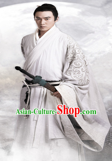 Ancient Chinese Noblemen Men's Clothing _ Apparel Chinese Traditional Dress Theater and Reenactment Costumes Complete Set for Men