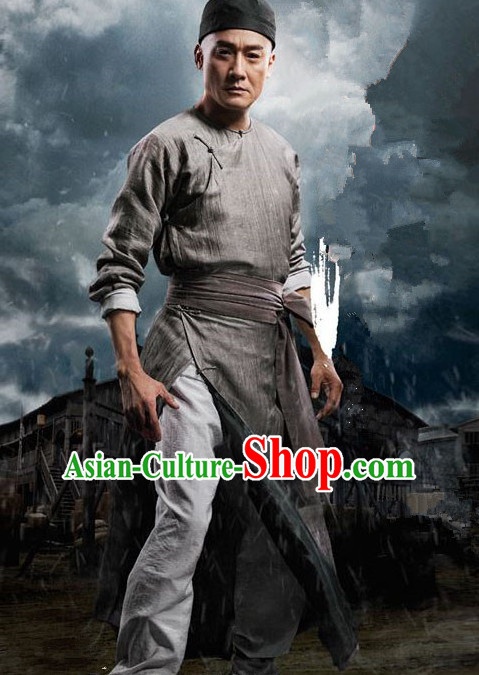Ancient Chinese Kung Fu Men's Clothing _ Apparel Chinese Traditional Dress Theater and Reenactment Costumes Complete Set for Men