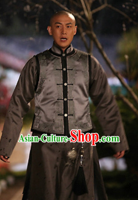 Ancient Chinese Manchu Prince Men's Clothing _ Apparel Chinese Traditional Dress Theater and Reenactment Costumes and Coronet Complete Set for Men