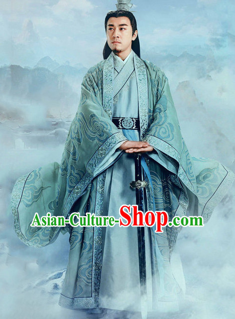 Ancient Chinese Guzhuang Men's Clothing _ Apparel Chinese Traditional Dress Theater and Reenactment Costumes and Coronet Complete Set for Men
