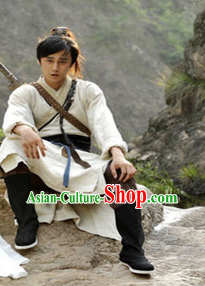 Ancient Chinese Traveller Men's Clothing _ Apparel Chinese Traditional Dress Theater and Reenactment Costumes and Coronet Complete Set for Men