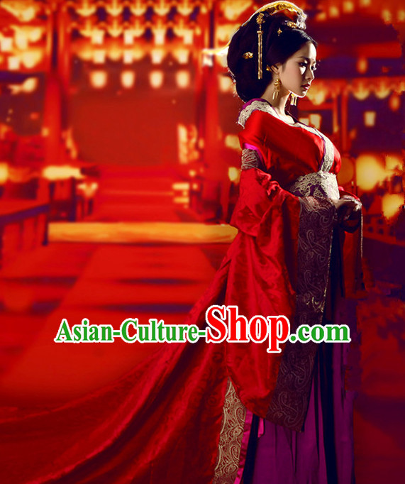 Chinese Empress Tang Dynasty Women's Wedding Bridal Clothing _ Apparel Chinese Traditional Dress Theater and Reenactment Costumes and Headwear Complete Set