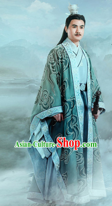 Chinese Ancient Emperor Men's Clothing _ Apparel Chinese Traditional Dress Theater and Reenactment Costumes and Headwear Complete Set