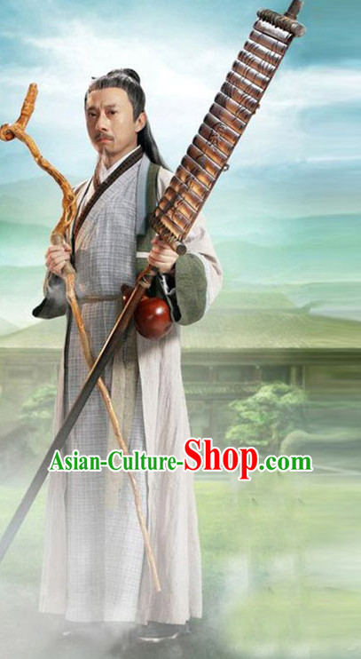 Chinese Ancient Wise Men's Clothing _ Apparel Chinese Traditional Dress Theater and Reenactment Costumes and Headwear Complete Set