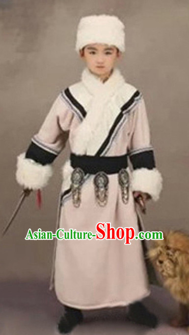 Chinese Ancient Mongolian Kids's Clothing _ Apparel Chinese Traditional Dress Theater and Reenactment Costumes and Hat Complete Set