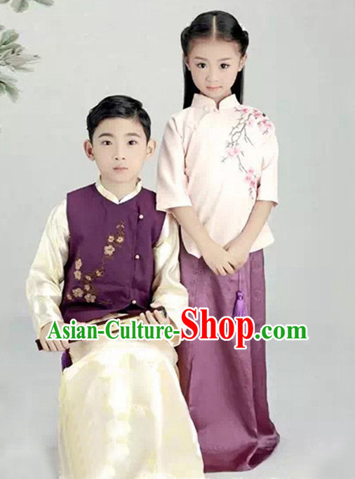 Chinese Minguo Period Kids's Clothing _ Apparel Chinese Traditional Dress Theater and Reenactment Costumes and Hat Complete Set