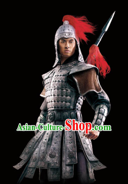 Ancient Chinese General Body Armor Costumes Complete Set for Men