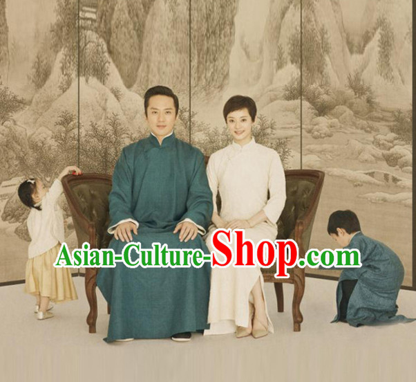 Top Chinese Traditional Men and Women's Clothing _ Apparel Chinese Traditional Dress Theater and Reenactment Robes Complete Set
