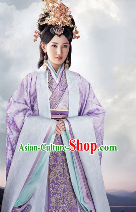 Top Chinese Ancient Empress Women's Clothing _ Apparel Chinese Traditional Dress Theater and Reenactment Costumes and Hat Complete Set
