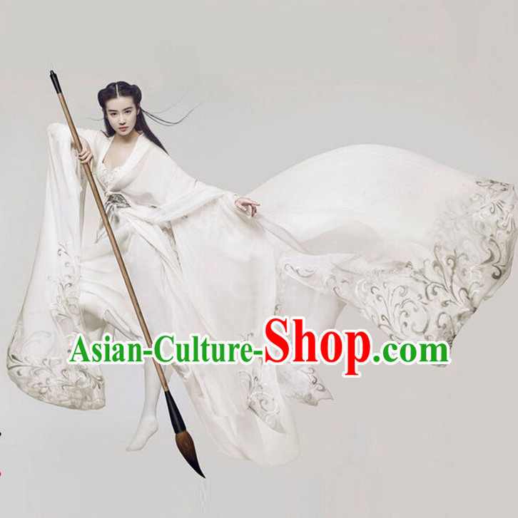 Top Chinese Ancient Women's Clothing _ Apparel Chinese Traditional Dress Theater and Reenactment Costumes and Hat Complete Set