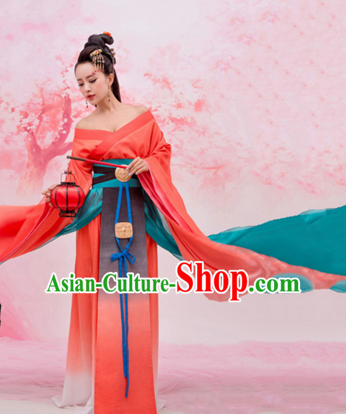 Ancient Chinese Princess Hanfu Dress Hanbok Kimono Cosplay Costume Traditional Dresses and Headpieces Complete Set
