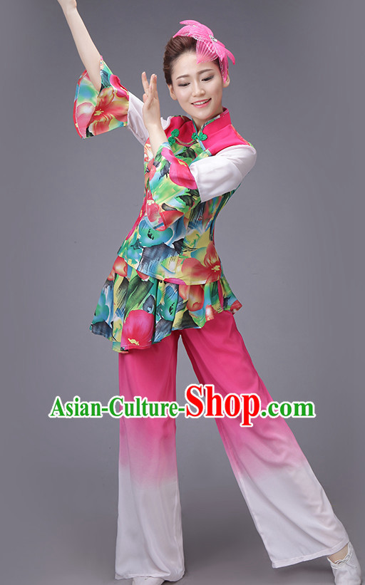 Chinese Dance Costume Dance Costumes Fan dance Umbrella Ribbon Fans Water Sleeve Dancer Dancing Costumes Complete Set