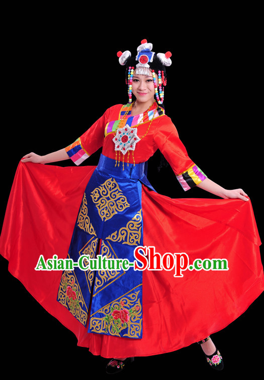 Happy Festival Chinese Minority Dress Tibetan Uniform Traditional Stage National Costume Sale