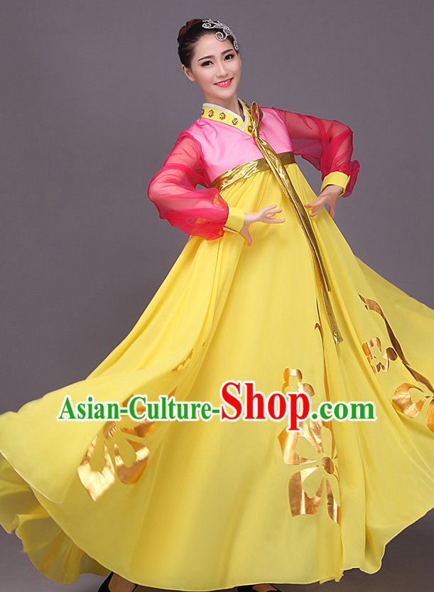 Chaoxian Minority Flower Dance Costume Dance Costumes Fan dance Umbrella Ribbon Fans Water Sleeve Dancer Dancing Costumes Complete Set