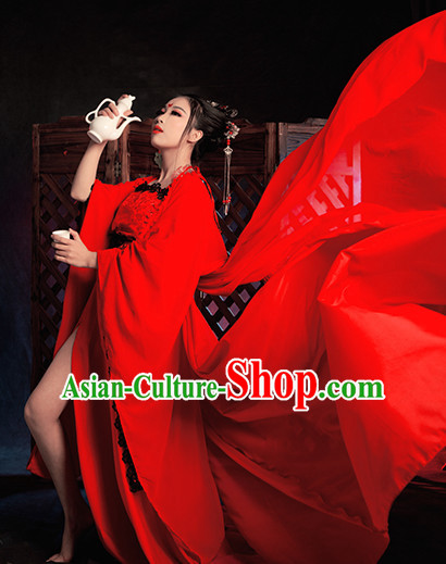 Top Red Chinese Imperial Royal Princess Traditional Wear Queen Dresses Fairy Cosplay Costumes Ideas Asian Cosplay Supplies Complete Set