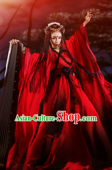 Top Red Black Chinese Imperial Royal Princess Traditional Wear Queen Dresses Fairy Cosplay Costumes Ideas Asian Cosplay Supplies Complete Set