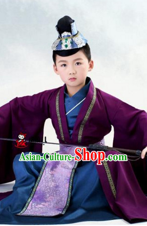 Traditional Chinese Costume Chinese Classical Clothing Garment and Headpieces Complete Set for Kids Boys