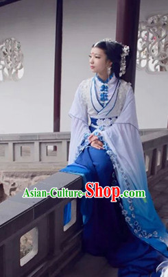 Top Blue Chinese Imperial Royal Princess Traditional Wear Queen Dresses Fairy Cosplay Costumes Ideas Asian Cosplay Supplies Complete Set