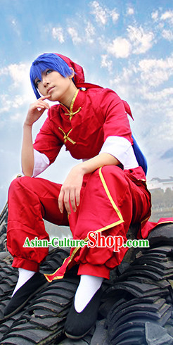 Cosplay Mandarin Hanfu Hanzhuang Han Fu Han Clothing Traditional Chinese Dress National Costume Complete Set for Men or Boys