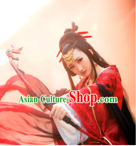 Chinese Ancient Style Beauty Black Long Wigs and Hair Accessories for Women