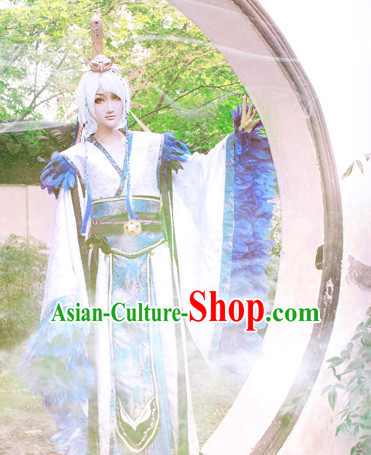 White Blue Ancient China Style Halloween Costumes High Quality Chinese National Costumes Complete Set for Men