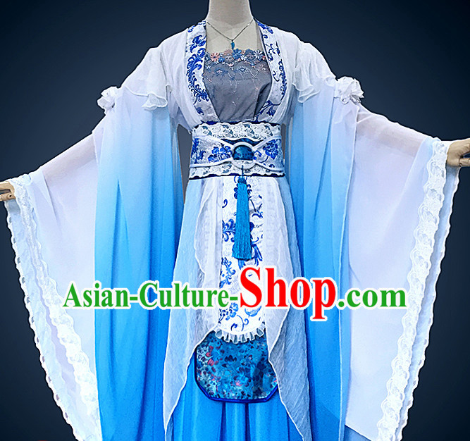 Ancient Chinese Princess Hanfu National Costumes and Headpieces Complete Set for Women