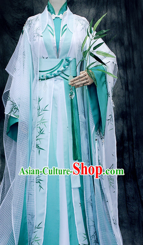 Ancient Chinese Embroidered Bamboo Hanfu Han Fu Clothes Complete Set for Men