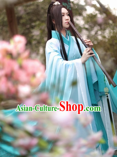 Top Chinese Ancient Artist Costumes Theater and Reenactment Costumes Complete Set for Men
