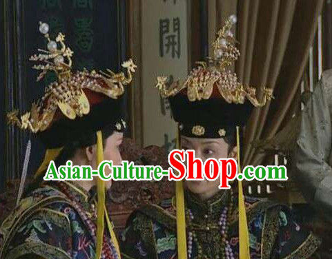 Chinese Qing Imperial Palace Empress Queen Phoenix Hat Headwear Headgear Hair Jewelry Hairpieces Set