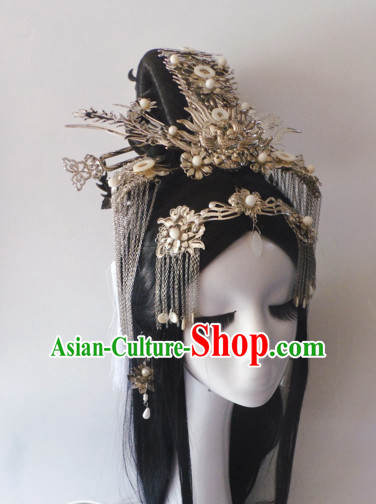 Chinese Classic Princess Wigs and Headwear Crowns Hats Headpiece Hair Accessories Jewelry Set