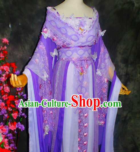 Chinese Classical Empress Purple Floral Clothing Complete Set