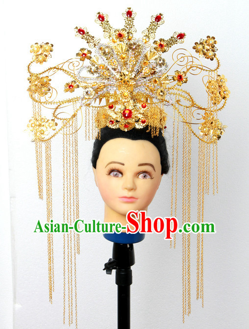 Handmade Chinese Fairy Stage Performance Black Wigs Hair Decorations Headpieces for Women