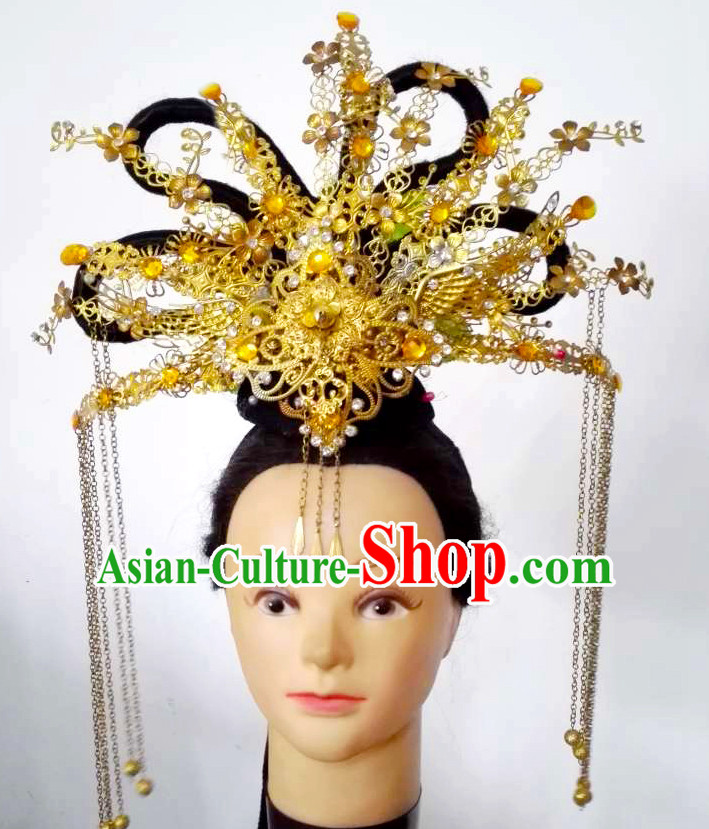 Handmade Chinese Model Stage Performance Princess Hair Decorations Headpieces Hair Jewelry for Women