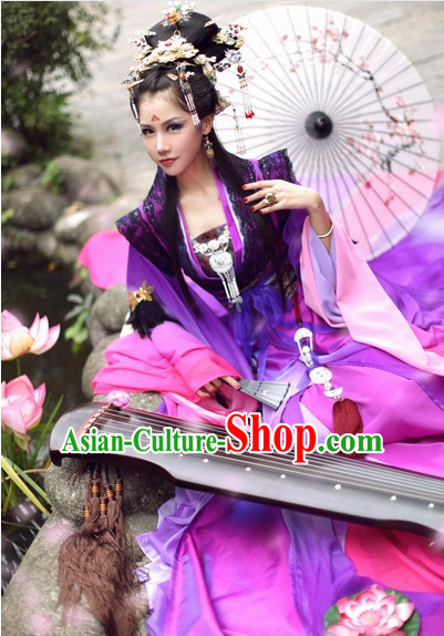 Top Purple Chinese Ancient Princess Hanfu Costumes Theater and Reenactment Costumes and Headgear Complete Set for Women
